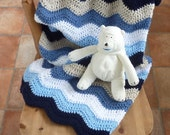 CRIB / COT / stroller blanket .'Ship Ahoy'  . Ripple. Crochet. Blues . Baby...ready to ship .....UK seller....