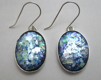 Beautiful Ancient Roman Glass 925 Silver  Hand Made Earrings