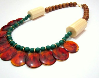 Tortoise Beads Lucite Statement Handmade Cream Wood Necklace