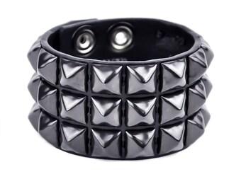 "3 Row Black Pyramid Stud Quality Leather Wristband Cuff Bracelet 1-3/4"" Wide - DSBC127BS"