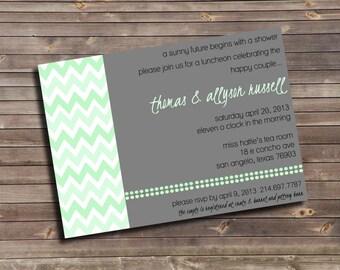 chevron printable wedding shower invitation