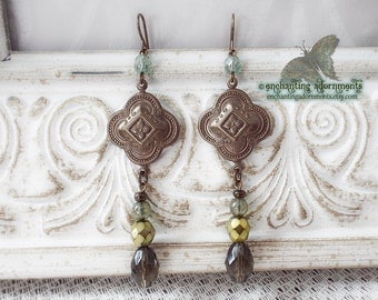 CELTIC FOREST  ~ Vintage brass earrings with iridescent czech glass in woodland colors