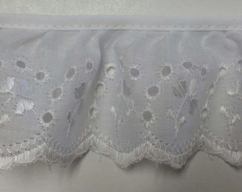Eyelet lace ruffled trim in white for altered couture, bedding, baby wear and more 9 yards