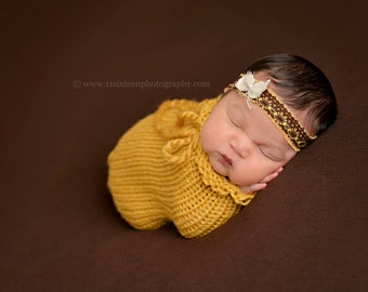 Mustard Yellow Swaddle Sack Newborn Baby Photography Prop