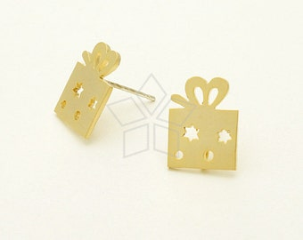 SI-619-MG / 2 Pcs - Gift Box Stud Earring, Christmas Earrings, Matte Gold Plated, with .925 Sterling Silver Post / 10mm x 13mm