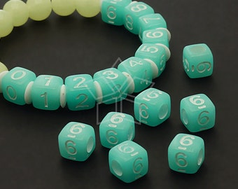 LR-059-BL / 10 Pcs - Numeric Luminous Beads, Phone Number Bead, Anniversary Date, Number Six, 6, BLUE Square / 7mm