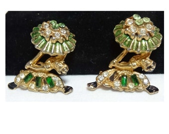 Pair of Ballerinas Clear and Green Rhinestone Brooches Gold Plated Apparel & Accessories Jewelry Vintage Jewelry Brooch Rhinestone