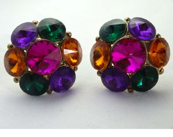Amber, Emerald Green, Pink Purple Rhinestone Clip-On Earrings Apparel & Accessories Jewelry Vintage Jewelry Earrings Clip On Rhinestone