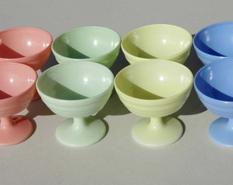 Pastel Stemmed Dessert Cups set of 8 Sorbet Cups Home and Garden Kitchen and Dining Serve Ware Tableware Bowls