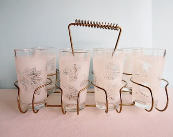 Vintage Frosted Glasses in Wire Caddy - Rack - Mid Century Drinking Glasses - Leaf Pattern