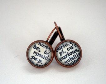 Be Curious Earrings, Book Lover Gift, Dedicated Bookworm, Vintage Dictionary Text Earrings, Word Earrings, Alice Earrings, Adventure Awaits