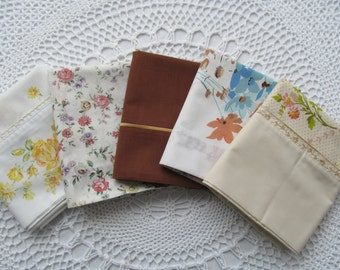 5 Vintage Pillowcases Assorment Assorted Floral Daisies All Different Yellow Brown Gold Orange Flowers Lot