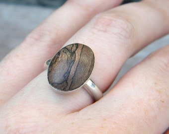 Maple Wood Ring, Wood and Silver, Sterling Silver Ring, Wooden Ring, Stablized wood