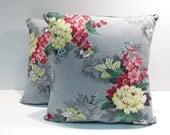 Shabby Chic Floral Pillows Mid Century Vintage 1950s Barkcloth Pair Home Decor Pillows