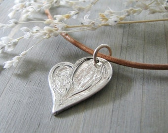 Personalized Heart Pendant, Asymmetrical Rustic Fine Silver Heart, Engraved, Handmade by SilverWishes