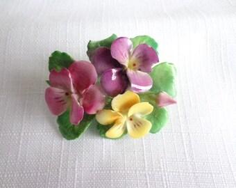 Vintage Cara China Staffordshire Flower Brooch