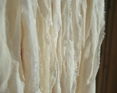 1, 2 or 3 Yards Soft Sari Silk Chiffon Ribbon Jewelry Supply Light Cream Off White Undyed Skin Soft