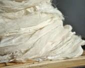 Sari Silk Chiffon Ribbon Light Cream Off White Undyed 100 Gram Skein