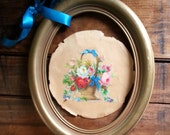 Vintage Gold Oval Frame, Shabby Chic Wood Picture Frame, Rustic Home Decor