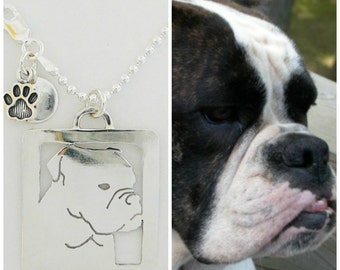Sterling Silver Necklace - Custom Art Silhoutte - Your Pet as a Pendant personalized Dog - Open Back, Head Shot