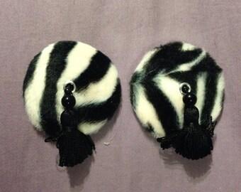 Zebra print pasties and tassels in black and white faux fur, tassel, size medium