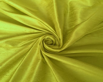 "Lemon Yellow 100% dupioni silk fabric yardage By the Yard 45"" wide"