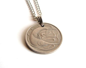Singapore coin necklace . swordfish necklace . coin jewelry . unisex & mens necklace