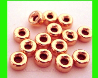 30pcs 4mm 14k Rose Pink gold filled seamless shiny roundel donut  bead spacers RB34