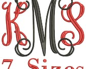 Vine Monogram Machine Embroidery Font - 7 Sizes -  Instant Download