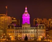Baltimore Art, Baltimore Celebrates Ravens Post Season,  Fine Art Color Photograph, Baltimore Skyline, Maryland Art