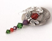 Red Orange Dragonfly Charm - Padparadscha Crystals, Purple Opalite, Fern Green, Silver Plated Wings