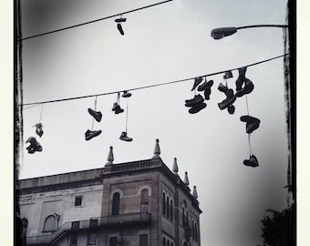 Urban Sneakers on a wire, Brooklyn New York Photograph, black and white photography, Home Decor.