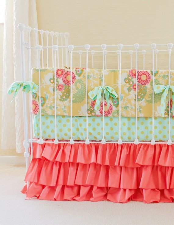 Sale 30 Off Rts Coral Mint Gold Crib Bedding Coral Baby