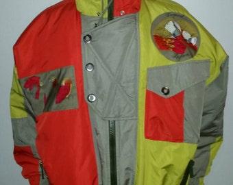 90s Vintage Henri Duvillard Tropical Safari Collection Privee 90-91 Women's orange lime and olive green microfiber parka jacket coat 14 L XL