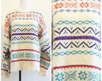 Vintage 70s Tribal Southwestern Sweater Wool Medium Oversized Fishermans Sweater