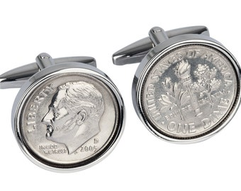 11 year Anniversary Gift -2006 Cufflinks, Dime Coin Cufflinks - 11th Anniversary Gift - 100% Satisfaction Guarantee
