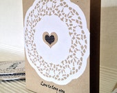 Blank note card, Valentine's, Anniversary, hand-made, hand-stamped, craft card, doily, love sentiment, Love to love you