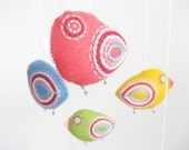 Nursery mobile, baby crib mobile, felt mobile, bird mobile, baby mobile, baby shower, crib mobile - 5 felt birdies