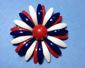 Red, White & Blue Enamel Daisy Brooch