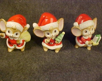 Mice Holiday Cuties Porcelain 3 Large Rodent Figurines -Sweet Holiday Decor & Santa Collectibles