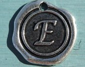 1PC - Antique Silver - Initial Charm - 20mm - Letter E