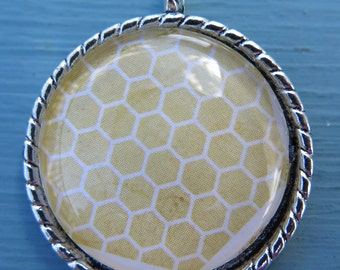 1PC - Yellow and White Honeycomb Design  - Round Silver Pendant - 30mm - Glass Pendant