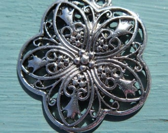 1PC - Antique Silver - Flower Charm - 34mm