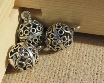 3PCS - Silver Toned - Round Bell Charms - 20x15mm