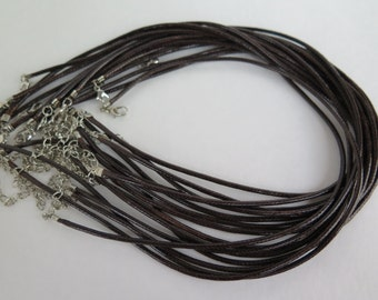 1PC, Brown Necklace, Brown Leather Necklace Cord with Lobster Clasp, 17 inches, Diy Necklace, Zardenia