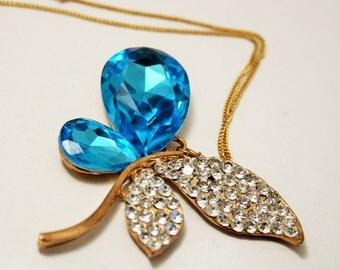 Vintage butterfly pendant. Blue butterfly pendant. Crystal butterfly.  Butterfly necklace