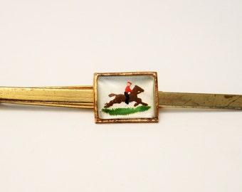 Vintage tie clip. Horse tie clip. Horse and rider tie clip. Equestrian tie clip. Mens accessories.