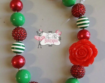 Red and Green CHRISTMAS FLOWER Chunky Necklace- Chunky bubblegum necklace, Girls chunky necklace, Gumball necklace, Chunky beaded necklace