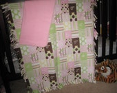 "Fleece ""B For Baby"" Baby Girl Blanket Set in Pink/Brown/Lime Green-Stripes-Dots-Letters-Solid Pink Security blanket-Unique Baby Shower Gift"