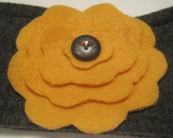 Flower Fleece Boho Headband Ear Warmer Gray with Mustard Yellow Flower and Vintage Gray Button-Junior/Teen/Adult Gray & Yellow Headband